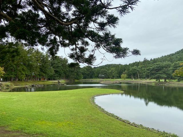毛越寺庭園の海岸に見立てた池