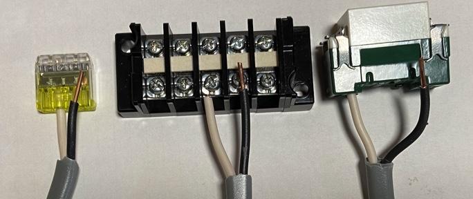 VVFケ=ブルと差込コネクター・端子台・スイッチの接続