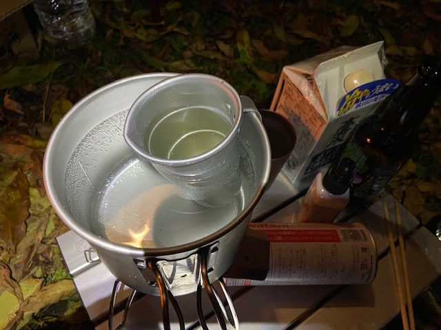日本酒はタンポで湯煎します