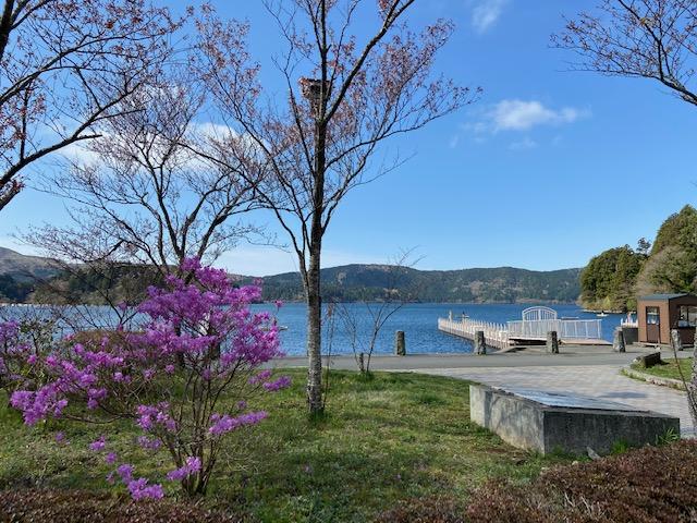 芦ノ湖にきました、天気が良くて綺麗です